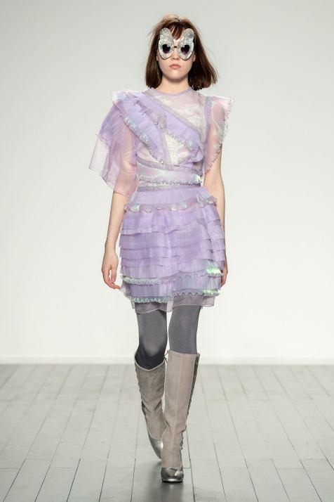 Solo model on the runway at Bora Aksu FW19 London Fashion Week captured by Chris Yates for Fashion Voyeur Blog by Pixie Tenenbaum