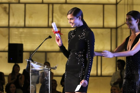 NEW YORK, NY - SEPTEMBER 10: Taylor Hill speaks onstage during The Daily Front Row's Third Annual Fashion Media Awards at the Park Hyatt New York on September 10, 2015 in New York City. (Photo by John Parra/Getty Images for The Daily Front Row)