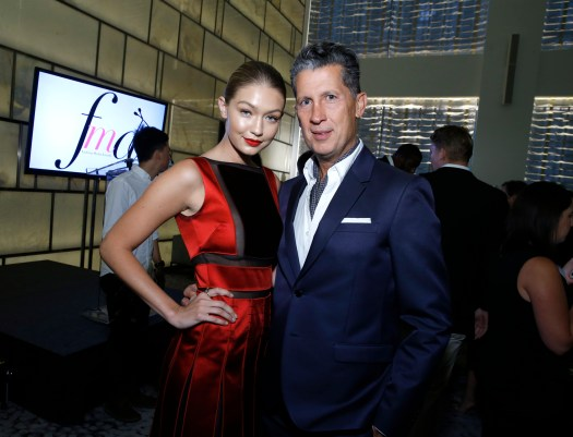 NEW YORK, NY - SEPTEMBER 10: Model Gigi Hadid and Stefano Tonchi attend The Daily Front Row's Third Annual Fashion Media Awards at the Park Hyatt New York on September 10, 2015 in New York City. (Photo by John Lamparski/Getty Images for The Daily Front Row)