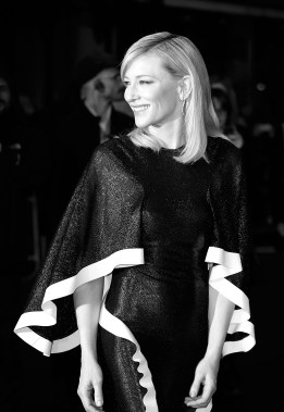 "LONDON, ENGLAND - OCTOBER 14: (EDITOR'S NOTE: This image has been converted to black and white) Cate Blanchett attends the ""Carol"" America Express Gala during the BFI London Film Festival, at the Odeon Leicester Square on October 14, 2015 in London, England. (Photo by John Phillips/Getty Images for BFI)"