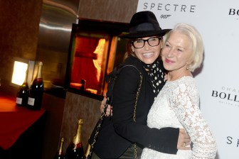 """Gina Gershon, Helen Mirren== Champagne Bollinger with The Cinema Society host a pre-release screening of """"Spectre""""== IFC Center, NYC== November 5, 2015== ©Patrick McMullan== Photo - Clint Spaulding / PMC== =="""