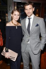 """Olivia Palermo, Johannes Huebl== Champagne Bollinger with The Cinema Society host a party for """"Spectre""""== The Lion, NYC== November 5, 2015== ©Patrick McMullan== Photo - Clint Spaulding / PMC== =="""