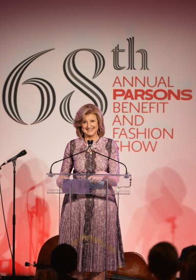 NEW YORK, NY - MAY 23: Writer Arianna Huffington speaks onstage during the 2016 Parsons Benefit at Chelsea Piers on May 23, 2016 in New York City. (Photo by Andrew Toth/Getty Images for Parsons School of Design/The New School)