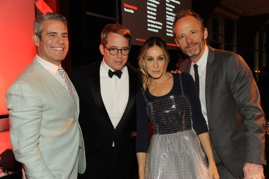 NEW YORK, NY - MAY 23: (L-R) Andy Cohen, Matthew Broderick, Sarah Jessica Parker and John Benjamin Hickey attends the 2016 Parsons Benefit at Chelsea Piers on May 23, 2016 in New York City. (Photo by Rabbani and Solimene Photography/Getty Images for Parsons School of Design/The New School)