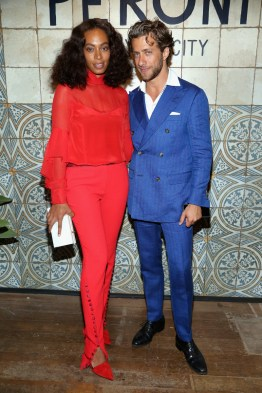 NEW YORK, NY - SEPTEMBER 07: Solange Knowles (L) and host Francesco Carrozzini attend The House of Peroni Opening Night on September 7, 2016 in New York City. (Photo by Sylvain Gaboury/Patrick McMullan via Getty Images)