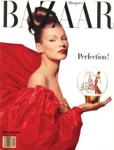 Kate Moss on the December 1992 cover of Harper's Bazaar