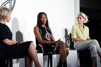 Tina Brown, Naomi Campbell, Mamie Gummer== VIP Evening of Conversation for Women's Brain Health Initiative, Moderated by Tina Brown== Spring Studios, NYC== October 18, 2016== ©Patrick McMullan== Photo - Jimi Celeste/PMC== ==