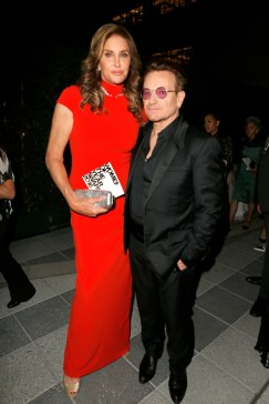 LOS ANGELES, CA - NOVEMBER 14: TV personality Caitlyn Jenner (L) and honoree Bono pose in the green room at Glamour Women Of The Year 2016 at NeueHouse Hollywood on November 14, 2016 in Los Angeles, California. (Photo by Jeff Vespa/Getty Images for Glamour) *** Local Caption *** Bono,Caitlyn Jenner