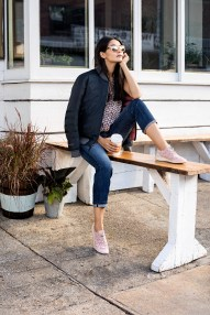 Cole Haan_StudiøGrand Campaign_Pack and Go Trainer in Silver Pink, Bomber in Black and Sunglasses in Pink