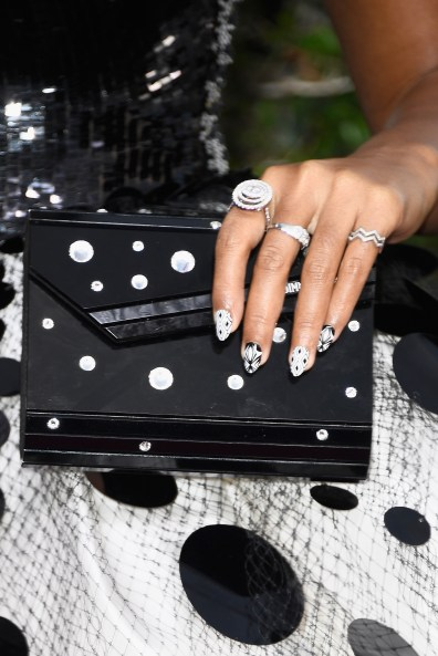 BEVERLY HILLS, CA - JANUARY 08: Musician/Actress Janelle Monae, accessories detail, attends the 74th Annual Golden Globe Awards at The Beverly Hilton Hotel on January 8, 2017 in Beverly Hills, California. (Photo by Frazer Harrison/Getty Images)