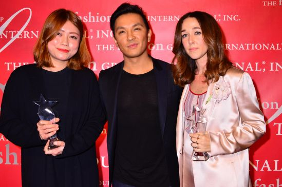 Claudia Li, presenter Prabal Gurung and Alejandra Alonso Rojas