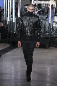 NEW YORK, NY - FEBRUARY 13: A model walks the runway wearing look #22 for the Philipp Plein Fall/Winter 2017/2018 Women's And Men's Fashion Show at The New York Public Library on February 13, 2017 in New York City. (Photo by Thomas Concordia/Getty Images for Philipp Plein)