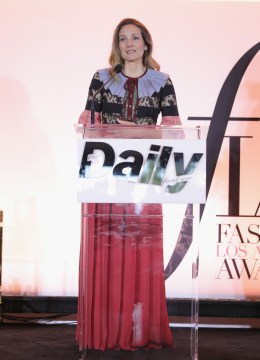 WEST HOLLYWOOD, CA - APRIL 02: Honoree Samantha McMillen accepts the award for Men's Stylist of the Year onstage during the Daily Front Row's 3rd Annual Fashion Los Angeles Awards at Sunset Tower Hotel on April 2, 2017 in West Hollywood, California. (Photo by Neilson Barnard/Getty Images)