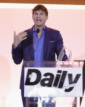 WEST HOLLYWOOD, CA - APRIL 02: Actor Ashton Kutcher speaks onstage during the Daily Front Row's 3rd Annual Fashion Los Angeles Awards at Sunset Tower Hotel on April 2, 2017 in West Hollywood, California. (Photo by Neilson Barnard/Getty Images)