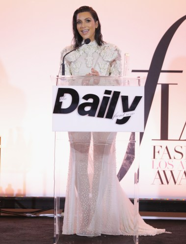 WEST HOLLYWOOD, CA - APRIL 02: Kim Kardashian West speaks onstage during the Daily Front Row's 3rd Annual Fashion Los Angeles Awards at Sunset Tower Hotel on April 2, 2017 in West Hollywood, California. (Photo by Neilson Barnard/Getty Images)