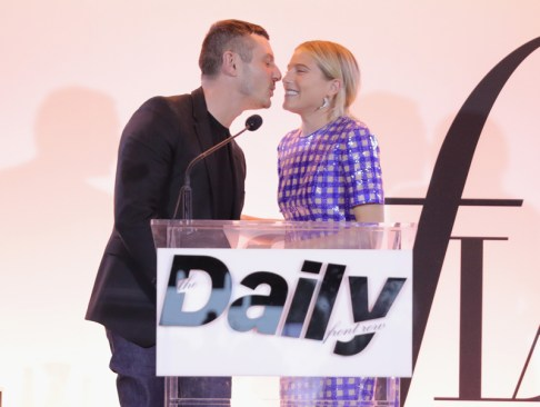 WEST HOLLYWOOD, CA - APRIL 02: Honoree Jonathan Saunders accepts the Designer of the Year award from model Dree Hemingway onstage during the Daily Front Row's 3rd Annual Fashion Los Angeles Awards at Sunset Tower Hotel on April 2, 2017 in West Hollywood, California. (Photo by Neilson Barnard/Getty Images)