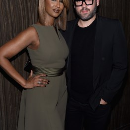 NEW YORK, NY - APRIL 19: Model Iman and designer Brian Maxwell attends Harper's BAZAAR 150th Anniversary Event presented with Tiffany & Co at The Rainbow Room on April 19, 2017 in New York City. (Photo by Dimitrios Kambouris/Getty Images for Harper's BAZAAR)