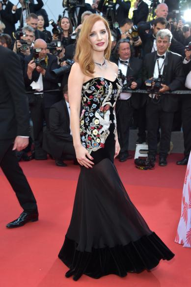 "CANNES, FRANCE - MAY 17: Jury member Jessica Chastain attends the ""Ismael's Ghosts (Les Fantomes d'Ismael)"" screening and Opening Gala during the 70th annual Cannes Film Festival at Palais des Festivals on May 17, 2017 in Cannes, France. (Photo by Pascal Le Segretain/Getty Images)"