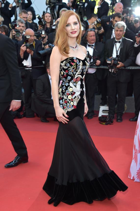 """CANNES, FRANCE - MAY 17: Jury member Jessica Chastain attends the """"Ismael's Ghosts (Les Fantomes d'Ismael)"""" screening and Opening Gala during the 70th annual Cannes Film Festival at Palais des Festivals on May 17, 2017 in Cannes, France. (Photo by Pascal Le Segretain/Getty Images)"""