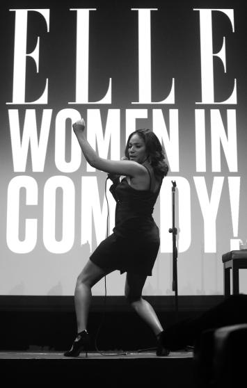 NEW YORK, NY - JUNE 13: (EDITORS NOTE: Image has been converted to Black and White. Color version is available) Comedian Tiffany Haddish performs on stage as ELLE hosts Women In Comedy event with July Cover Star Kate McKinnon at Public Arts at Public on June 13, 2017 in New York City. (Photo by Brad Barket/Getty Images for ELLE)