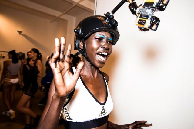 Model Alek Wek after the finale of the Chromat featuring Intel Collaboration show at Milk Studios on September 11, 2015 in New York City. (Photo by Daniel C Sims/Getty Images for Chromat)