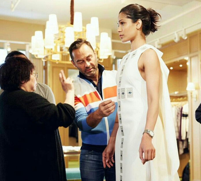 Frieda Pinto at a fitting with Tory Burch