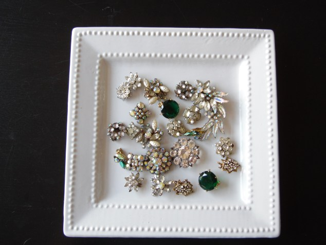 Before: Grandma's clip on earrings and broches