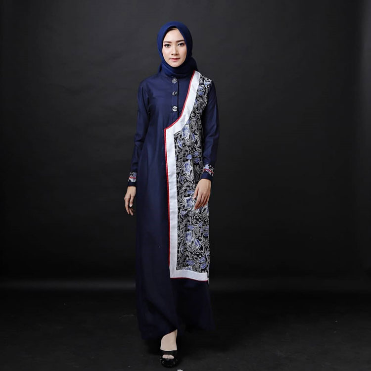 Gamis Batik Kombinasi Polos Modern 2019  Nusagates