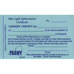 Blue Light Authorization Card