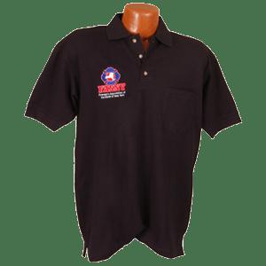 Golf Shirt-Mens w/Vertical Logo Navy Blue