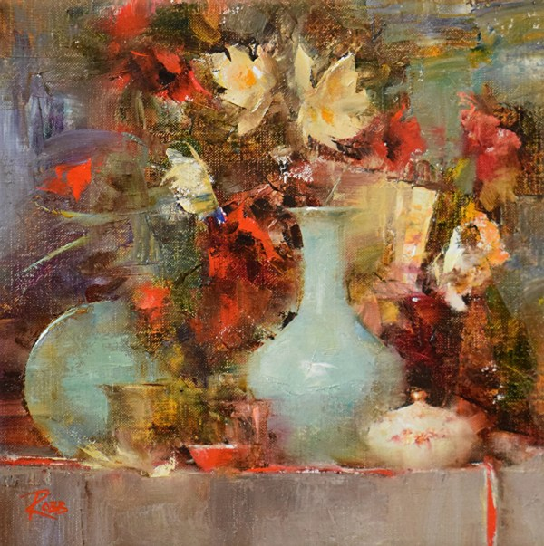 Laura Robb - Work Zoom Scarlet Poppies And Celadon