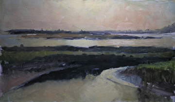 "Sunset over Young's Bay, Astoria, Or. by Robert Paulmenn Oil ~ 12"" x 20"""