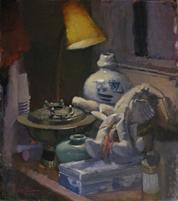"Top Shelf by Robert Paulmenn Oil ~ 18"" x 16"""