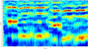 "Autocorrelation tempogram indicating ""tempo onsets"" for a recording of ""Where Ceaseless Ages Roll,"" a song in The Sacred Harp: 1991 Edition. Image courtesy of Jesse P. Karlsberg and Mark T. Godfrey."