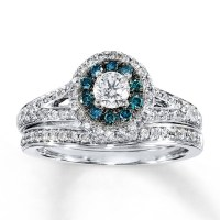 15 Collection of Blue Diamond Wedding Ring Sets