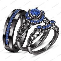 15 Best Ideas of Blue Diamond Wedding Rings Sets
