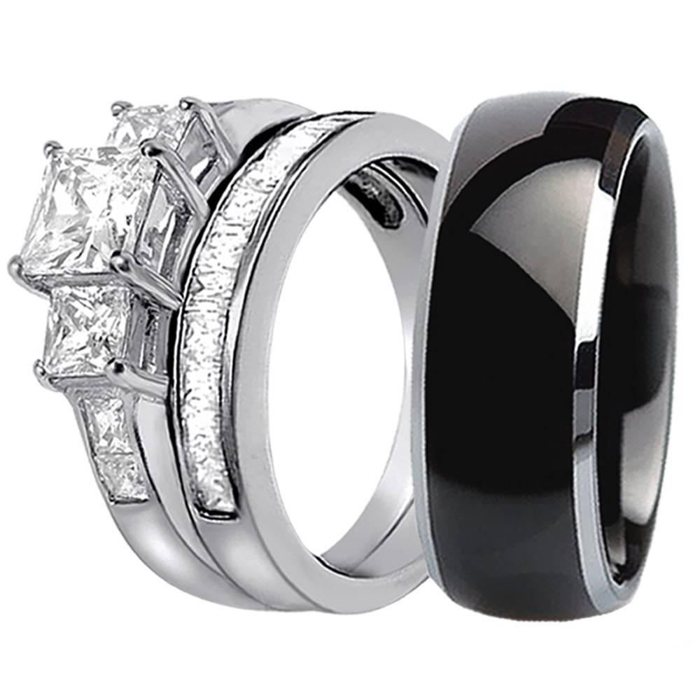 15 Best Collection Of Black Titanium Wedding Bands Sets
