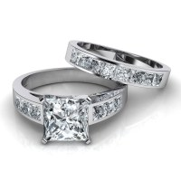 2018 Popular Princess Cut Diamond Wedding Rings Sets