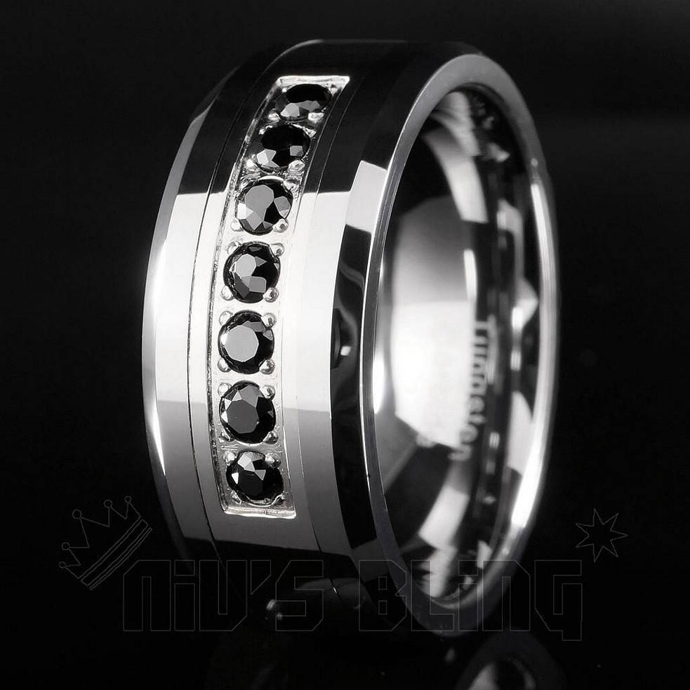 15 Best Of Mens Black Tungsten Wedding Bands With Diamonds
