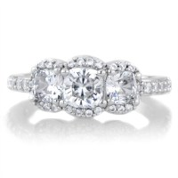 15 Best of 3 Stone Halo Engagement Ring Settings