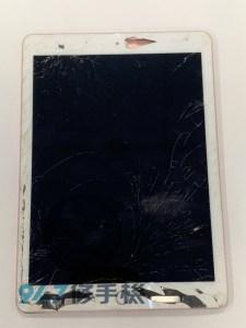 砸到地板的IPAD PRO 9.7  玻璃面板殘破不堪的!! IPAD平板面板維修