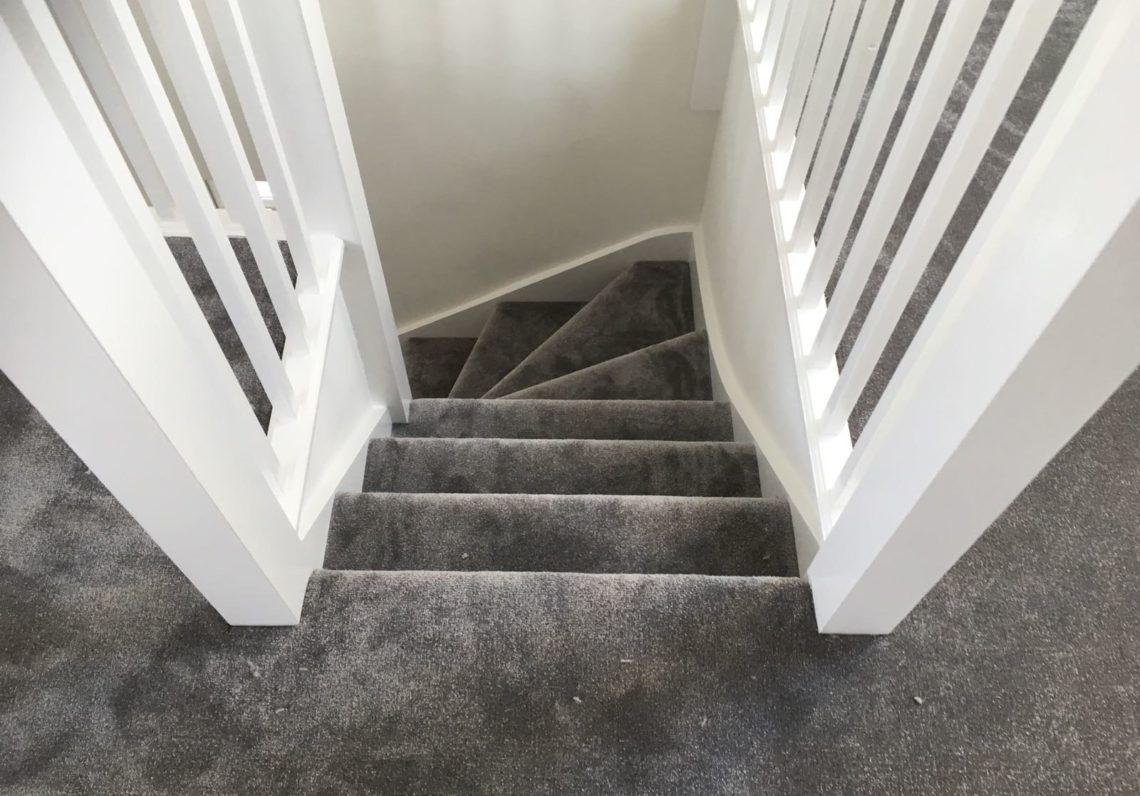 Dark Grey Soft Feel Silk Carpet Down The Stairs Landing Home Commercial Flooring Kent Fast Track Flooring