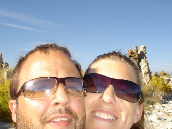 Son Kevin and wife Heather, at Mono Lake