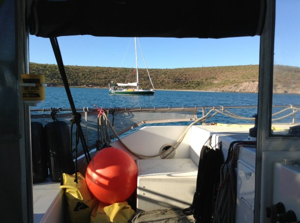 Boat buddy anchored comfortingly close!
