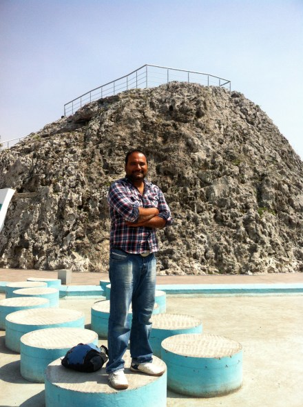 Francisco in front of The World's Littlest Volcano