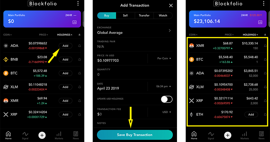 "Once you have selected the the amount of coins that you have purchased you can then hit ""save buy transaction"". This will add the coin to your portfolio and you can repeat this for all the coins in your portfolio."