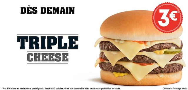 Quick Lance Le Triple Cheese à 3€  Fastandfood