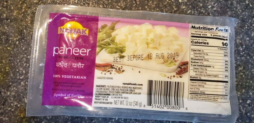 paneer packet example
