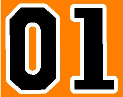 01 Number Decal Sticker