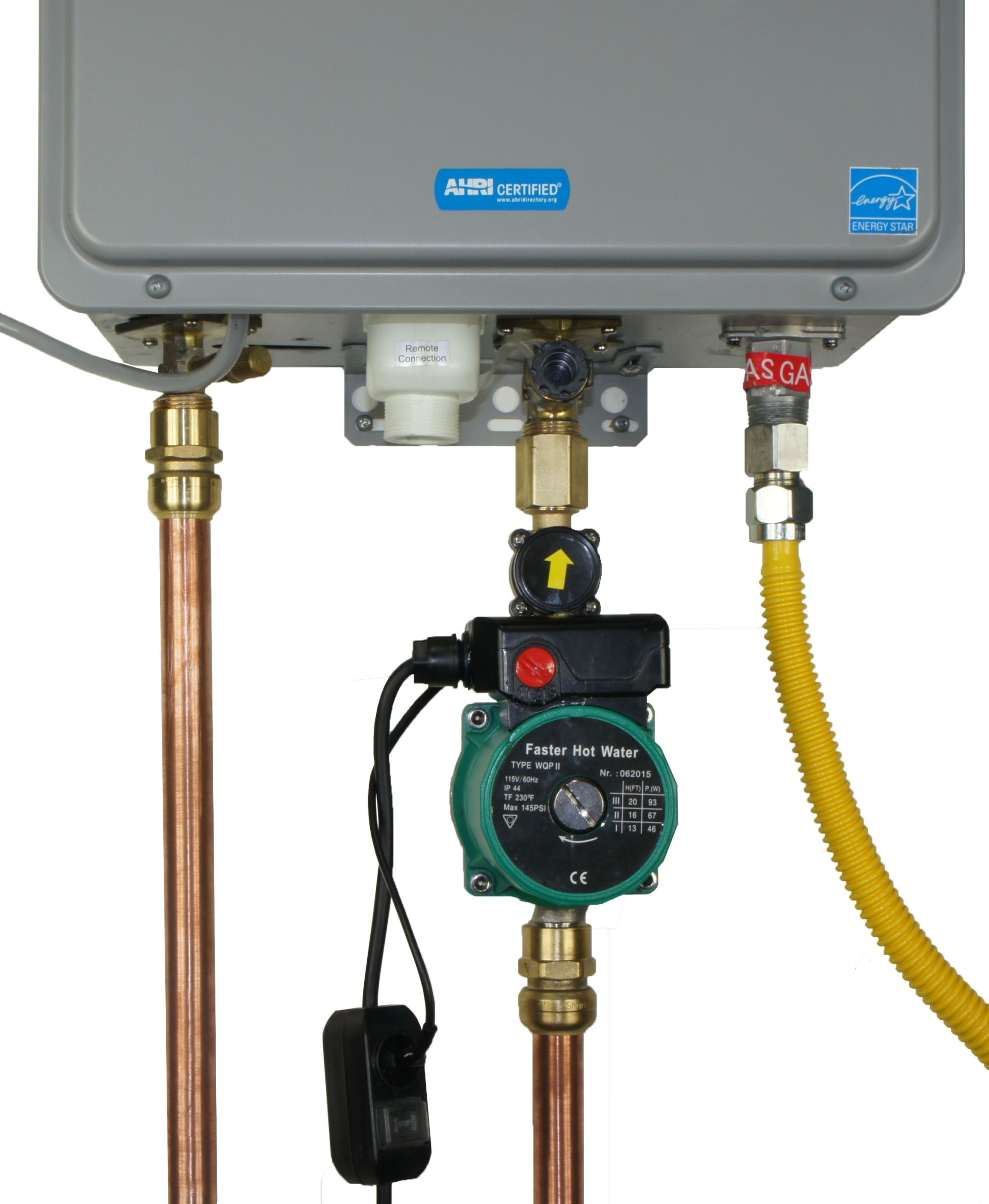 hight resolution of image of a hot water circulator pump installed on a tankless water heater